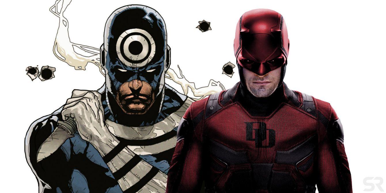 Bullseye in the comics VS Bullseye dressed as Daredevil in the trailer.