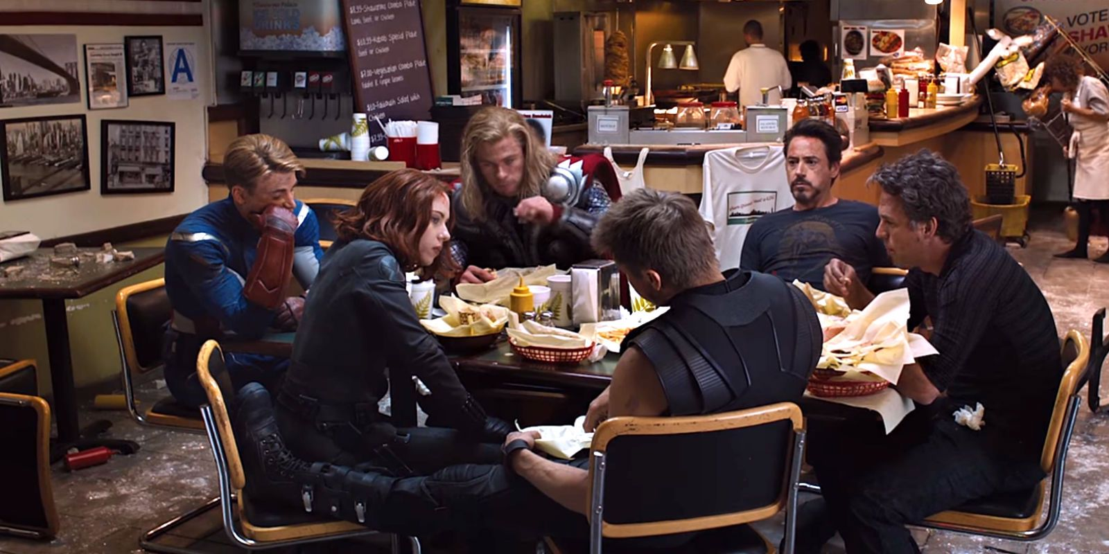 2. The Avengers. The Avengers have a straightforward yet wholesome and funny end credits scene. After the Battle of New York, Iron Man suggests that they have some shawarma. Hence, in the scene, they are seen eating at a restaurant that is still being cleaned up from the battle.