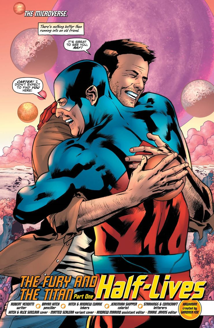 Hawkman and Atom Hugging Each other