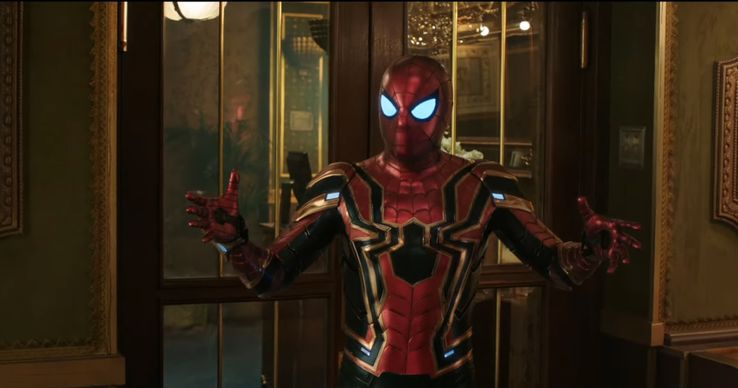 Image result for side by side of the costume change in spider man far from home