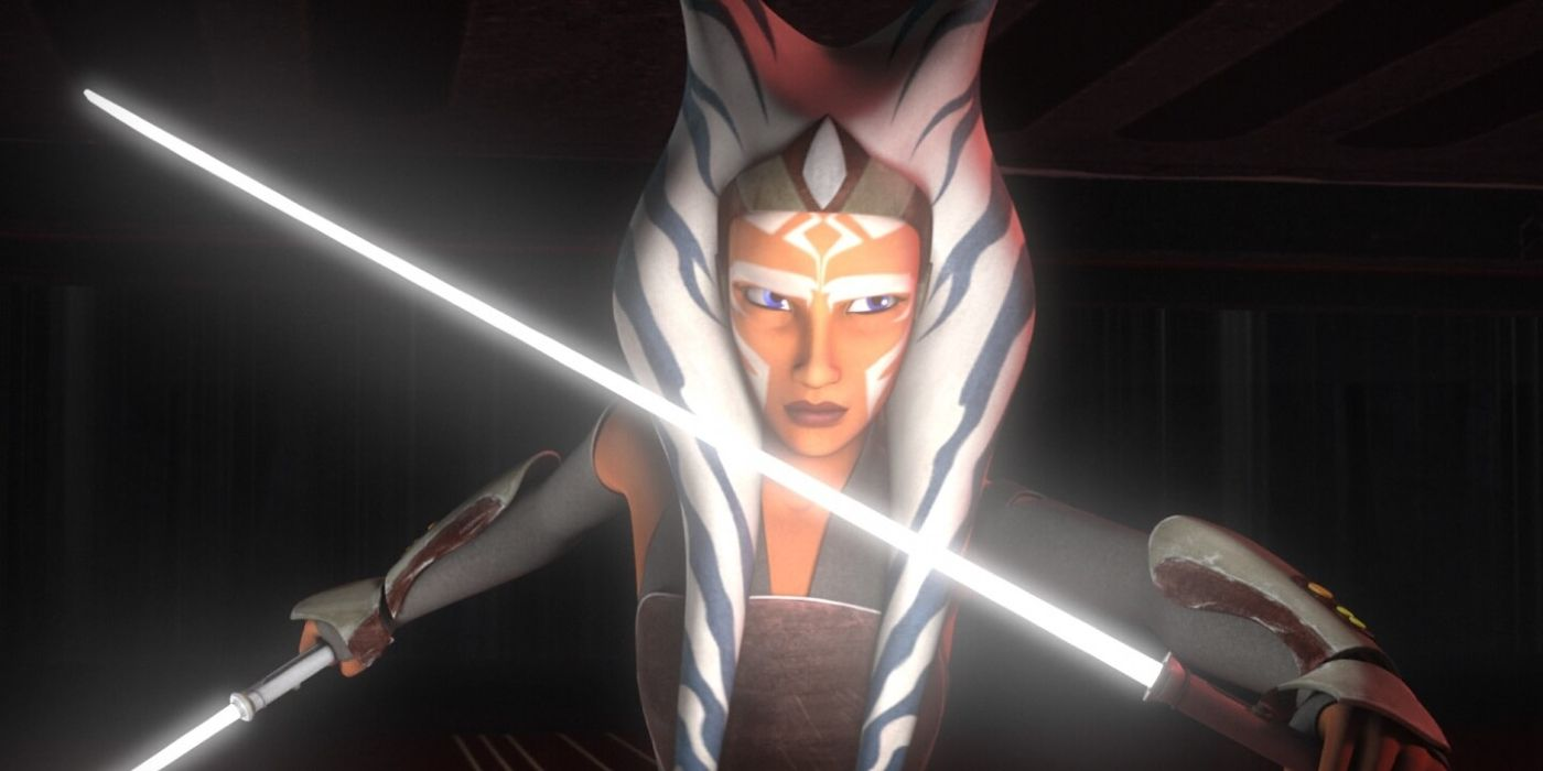 Ahsoka Tano with White Lightsabers in Star Wars Rebels