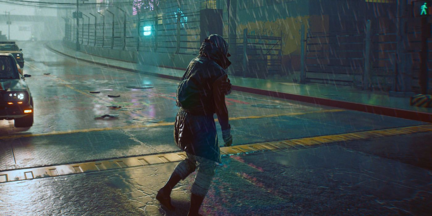 The Cyberpunk 2077 patch may have made rainier weather more frequent