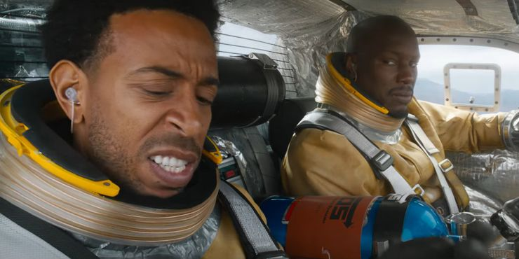 Fast and Furious 9 Tej and Roman in space car