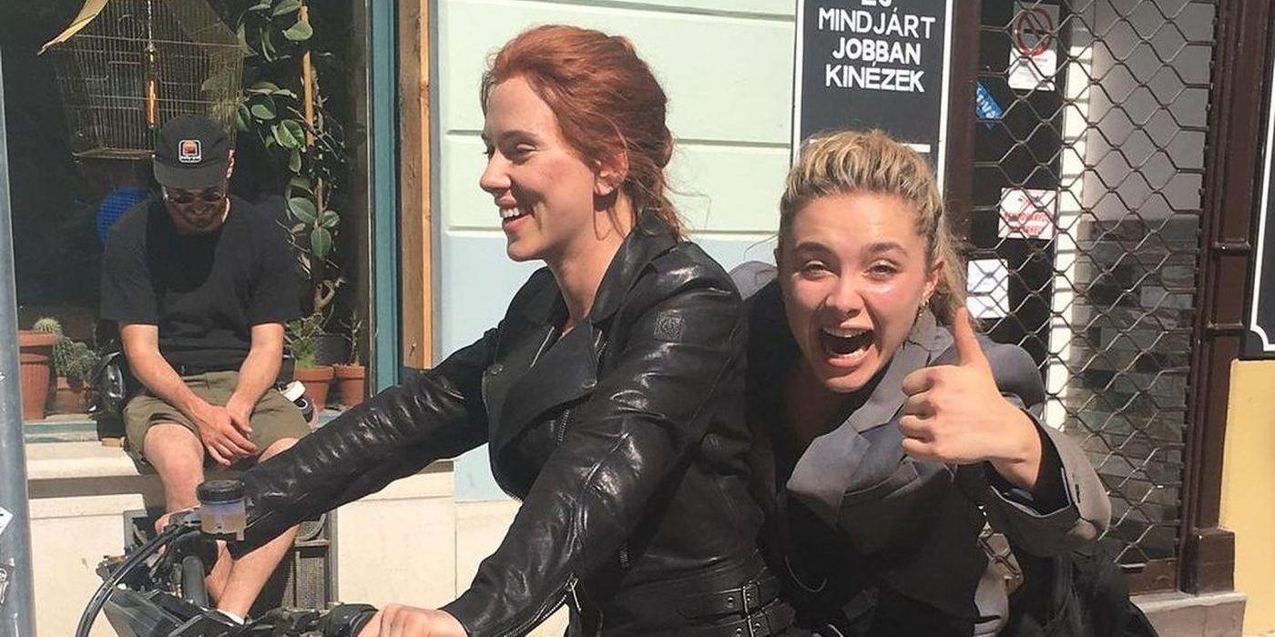 Scarlet Johansson & Florence Pugh Goof Off in Black Widow Set Photo