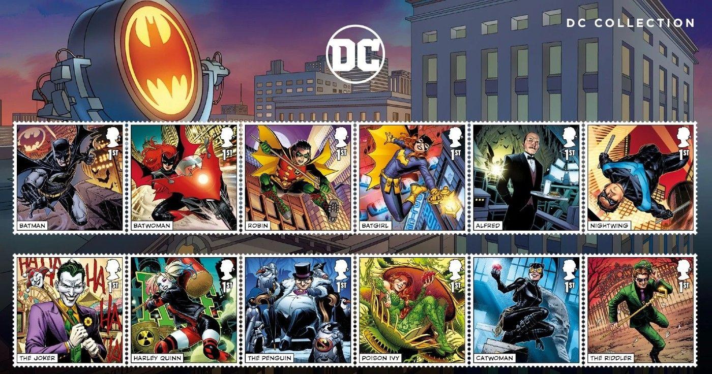 Batman e estrela da Liga da Justiça em arte única para selos colecionáveis do Reino Unido 1