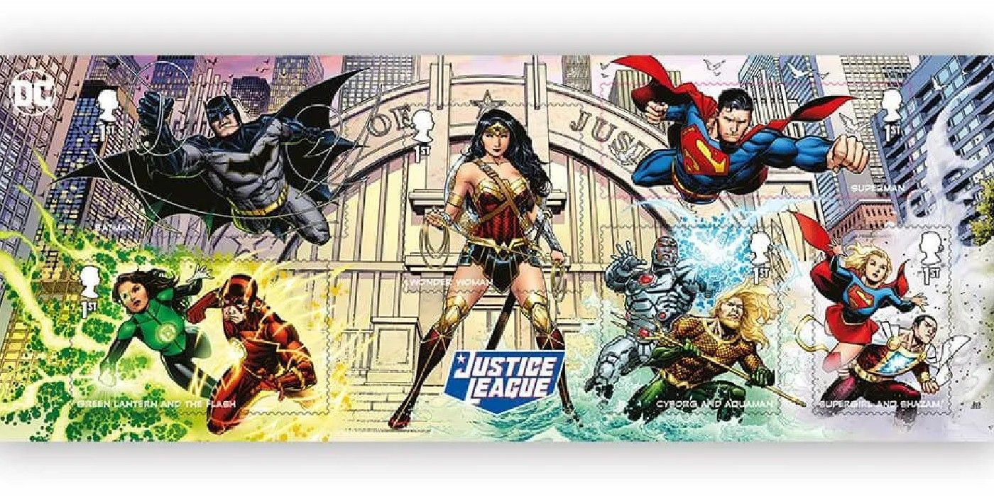 Batman e estrela da Liga da Justiça em arte única para selos colecionáveis do Reino Unido 2