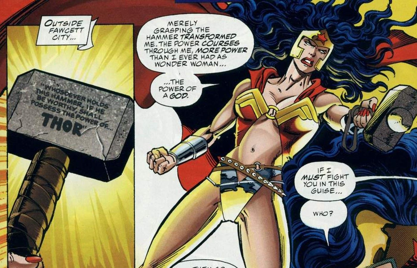 Wonder Woman's most powerful form comes from Marvel's Mjolnir