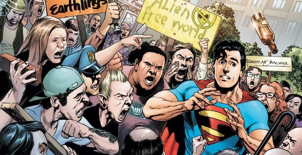 Batman V Superman' Set Photos Reveal Anti-Superman Protests